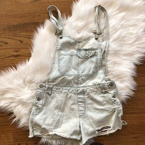 Free People Distressed Overall Denim Shorts